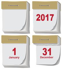 Set of tear off calendar 2017