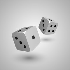 Vector illustration of two realistic white-black dices. Isolated on gray background, eps 10.