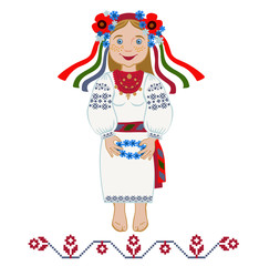 Girl in folk costume wonders with wreath