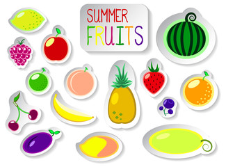 Set of colorful isolated vector fruit icons