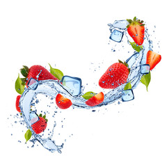 Foto op Aluminium Opspattend water Strawberries in water splash on white background