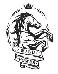 Wild horse. Vintage emblem.