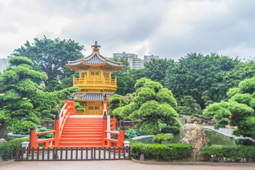 Golden pavilion with Chinese style architecture in Nan Lian gard