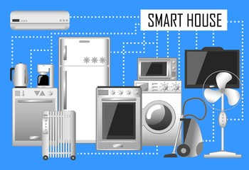 Smart house vector illustration, set of electronic home appliances connected with internet.