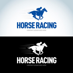 Horse Racing logotype template, color and black vector logo variations. Isolated vector illustration.
