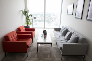Empty Informal Meeting Area In High Rise Office Building