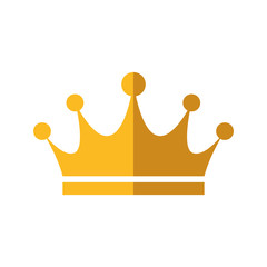 Crown royal king gold icon. Royalty concept. Isolated and flat illustration. Vector graphic