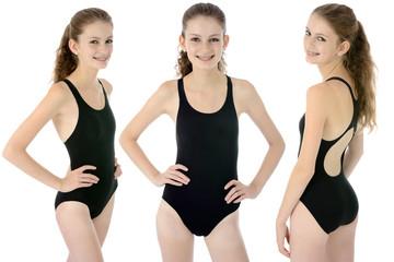 Teenager oder Jugendliche in Badeanzug Einteiler für Schwimmunterricht