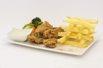 ... Deep-Fried Chicken (chicharrón de pollo), Fried chicken nuggets,fries