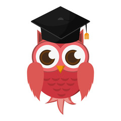 flat design owl cartoon with graduation cap icon vector illustration