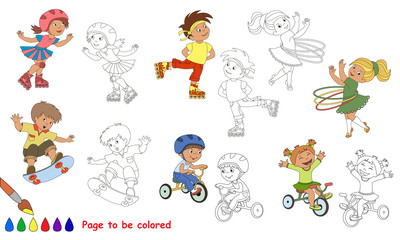 Kid summer sports cartoon. Page to be colored.