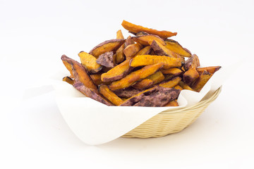 Sweet potato fries (camote) in a basket.