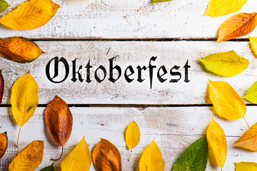 Oktoberfest sign and colorful autumn leaves. White wooden backgr
