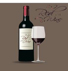 Бутылка красного вина и бокал красного вина, винодельня, винная карта, винодел, сомелье