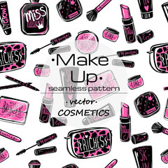 Make up vector concept Creative design for card, web design background, book cover. Vector cosmetics seamless pattern with place for your text. Make up artist objects. Cosmetics set.