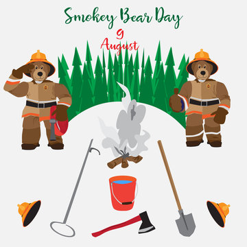 Poster Smokey Bear Day. Vector card (icons) August, Smokey Bear Day. Tool and equipment manual fire