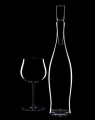 Wine decanter and wine glass on black background