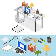 Workspace. Transparent Desk with stationery and a laptop