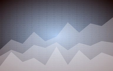 Business chart with uptrend line graph and stock numbers in bull market on gray background (vector)