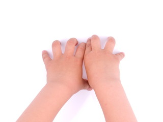 children's hands on a white background