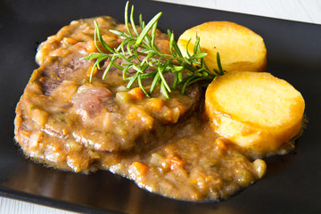braised meat with polenta