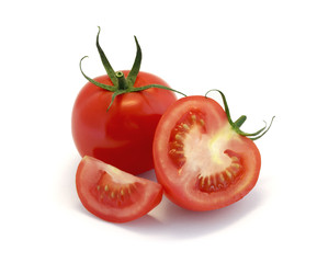 Red tomatoes isolated on white.