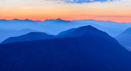 Sunset in the Mountains. Dinaric Alps, Orjen and Lovcen mountains, Montenegro