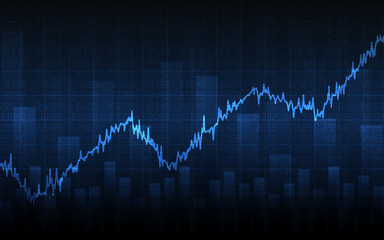 Business chart with uptrend line graph, bar chart and stock numbers in bull market on dark blue background (vector)