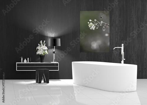 Badezimmer modern mit Badewanne freistehend\