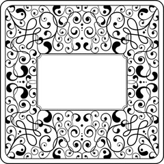 Ornamental background, black and white, square format