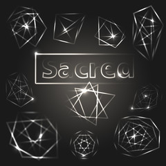 Sacred geometry. Alchemy, religion, pirituality symbols. Set of shiny vector elements.