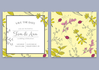 Vector template of wedding invitation card with herbs. Save the date. Botanical style.