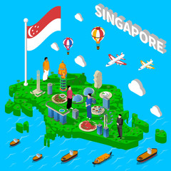 Singapore Map Touristic Symbols Isometric Poster