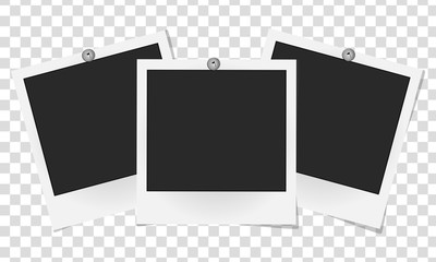 Set of realistic vector photo frames on metal rivets. Template photo design. Vector illustration