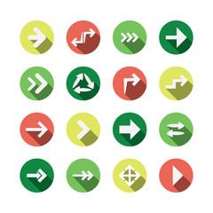Set of Flat Arrow Icon Designs