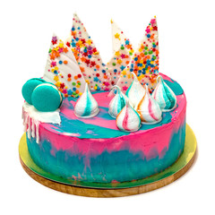 Birthday Vibrant Cake with Colorful Sprinkles