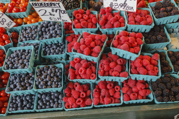 Fresh berries at an outdoor market in Seattle.