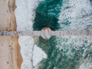 Pier in the sea, view from above