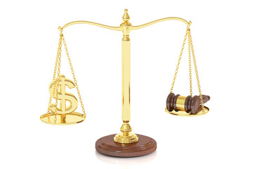balance concept on the scales, law and money. 3D rendering