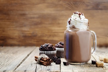 hot dark chocolate with whipped cream