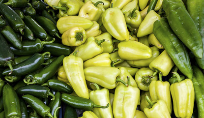 Fresh green peppers and chilies at an outdoor market in Seattle.