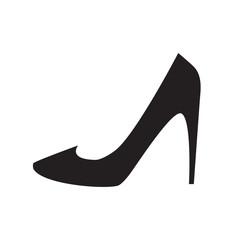 Black, classic high heel shoe icon. Vector art.