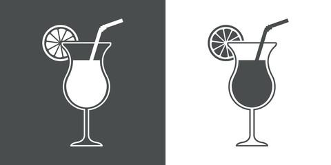 Icono plano coctel con pajita
