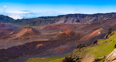 Panoramic view of volcanic landscape and craters at Haleakala, M