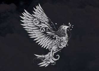 ornamental verzierte Taube Mit Zweig im Schnabel auf schwarzem Hintergrund