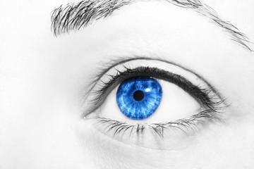 Beautiful insightful look blue  woman's eyes