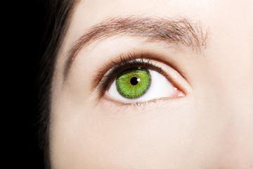 Beautiful insightful look green woman's eye