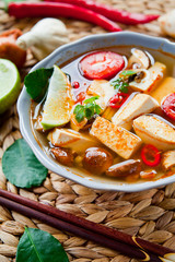 Vegetarian spicy korean broth soup with tofu.