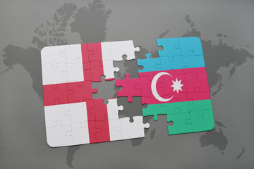 puzzle with the national flag of england and azerbaijan on a world map background.