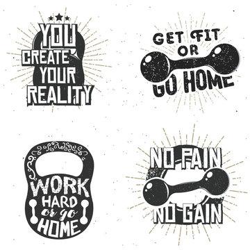 Set of sport logos, gym label